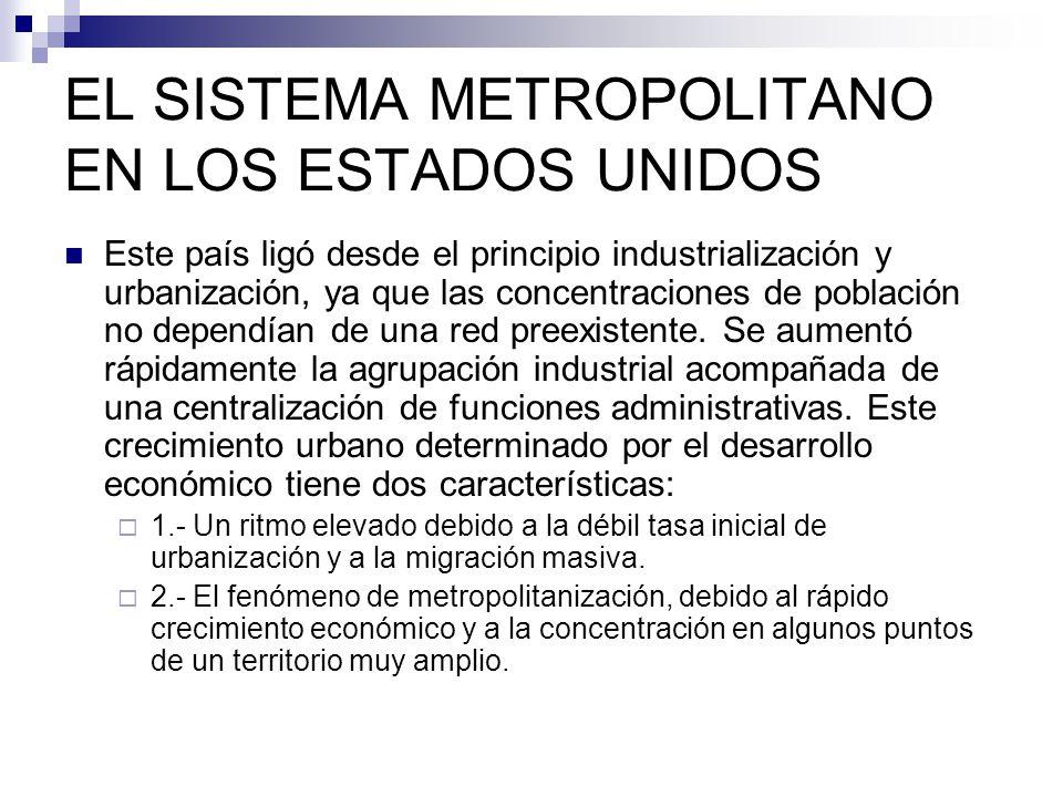 EL SISTEMA METROPOLITANO EN LOS ESTADOS UNIDOS Este país ligó desde el principio industrialización y urbanización, ya que las concentraciones de pobla