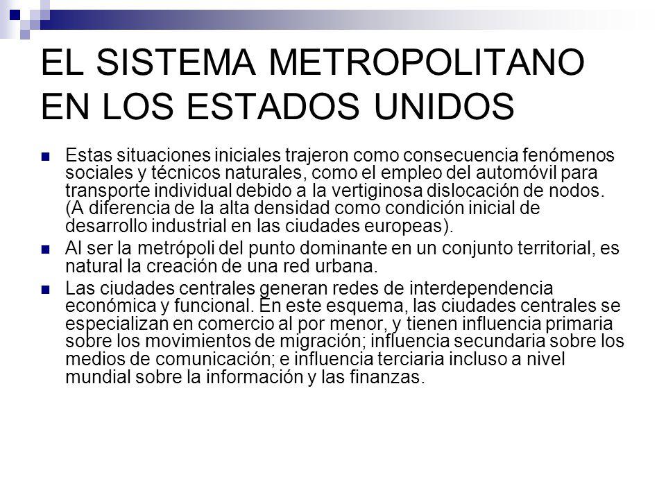 EL SISTEMA METROPOLITANO EN LOS ESTADOS UNIDOS Alexanderson clasifica el perfil urbano de los Estados Unidos de la siguiente manera: 1.- Metrópolis nacionales 2.- Metrópolis regionales 3.- Capitales regionales sub-metropolitanas.