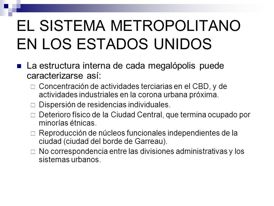 EL SISTEMA METROPOLITANO EN LOS ESTADOS UNIDOS La estructura interna de cada megalópolis puede caracterizarse así: Concentración de actividades tercia