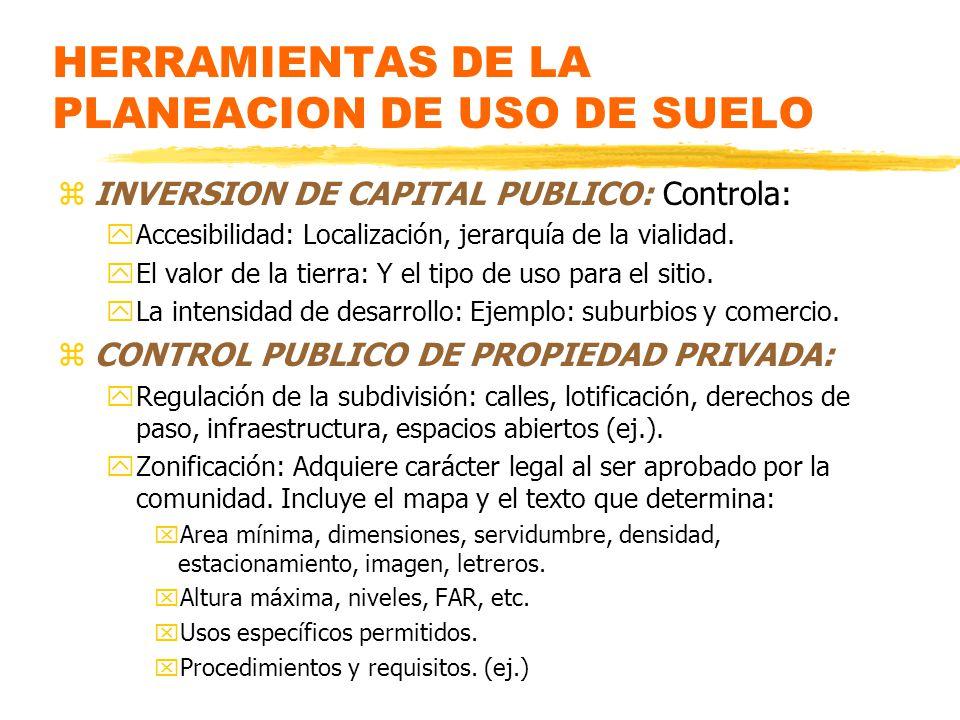 HERRAMIENTAS DE LA PLANEACION DE USO DE SUELO zINVERSION DE CAPITAL PUBLICO: Controla: yAccesibilidad: Localización, jerarquía de la vialidad.