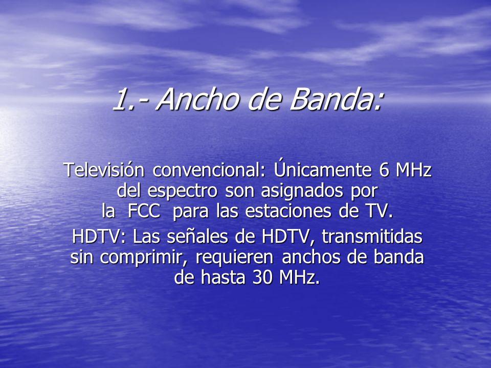 1.- Ancho de Banda: Televisión convencional: Únicamente 6 MHz del espectro son asignados por la FCC para las estaciones de TV. HDTV: Las señales de HD