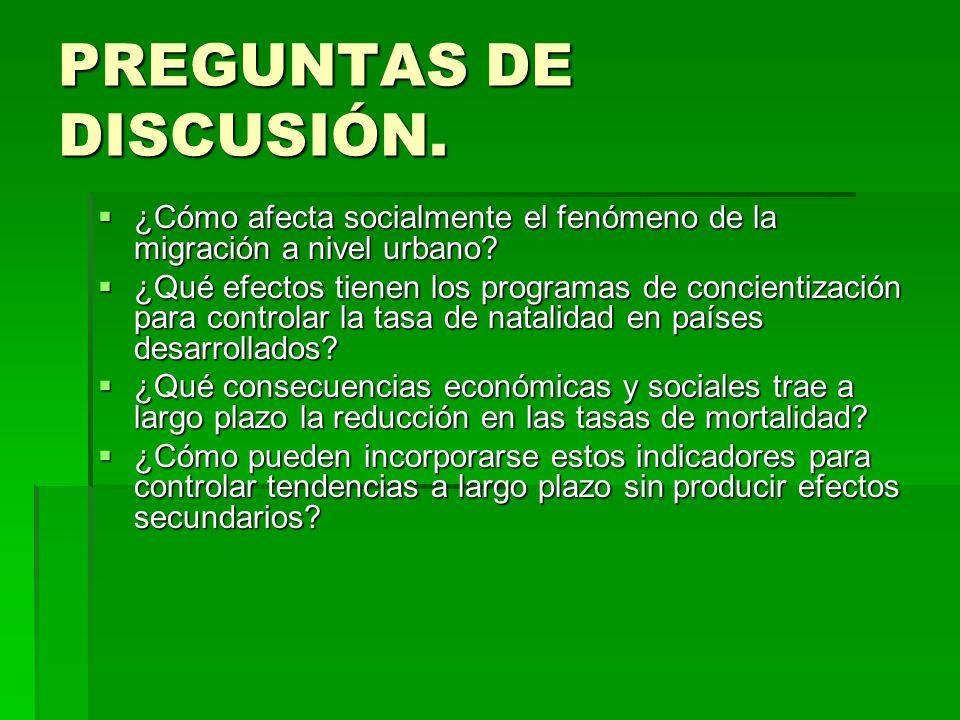 PREGUNTAS DE DISCUSIÓN. ¿Cómo afecta socialmente el fenómeno de la migración a nivel urbano? ¿Cómo afecta socialmente el fenómeno de la migración a ni