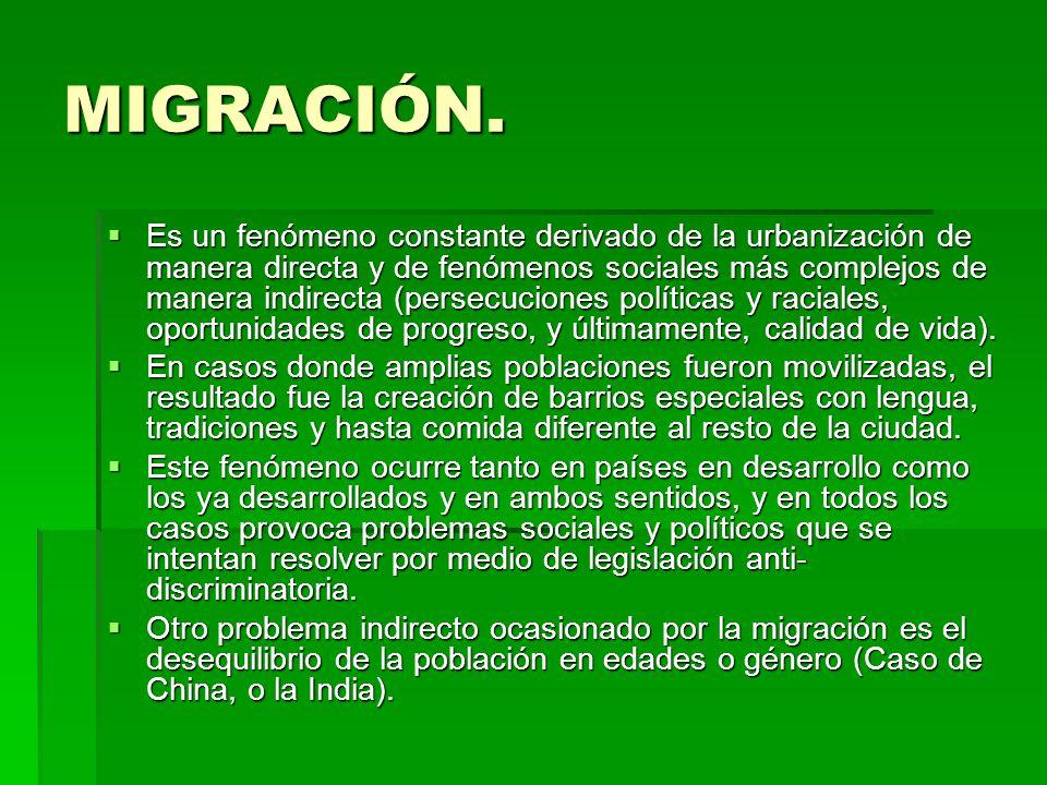 MIGRACIÓN. Es un fenómeno constante derivado de la urbanización de manera directa y de fenómenos sociales más complejos de manera indirecta (persecuci