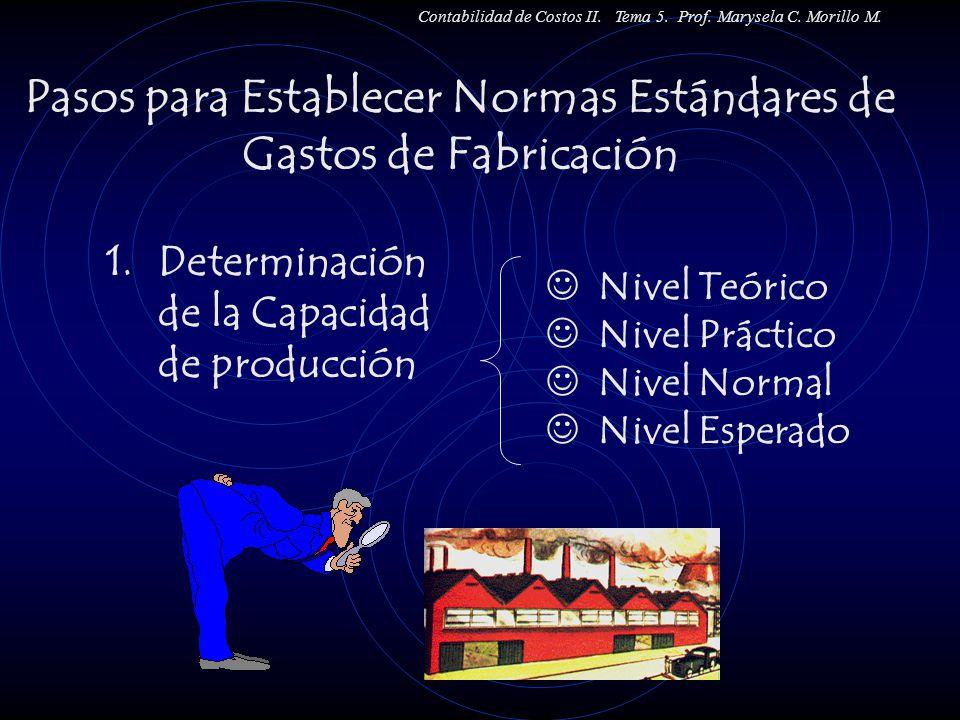 1.Determinación de la Capacidad de producción Nivel Teórico Nivel Práctico Nivel Normal Nivel Esperado Pasos para Establecer Normas Estándares de Gast