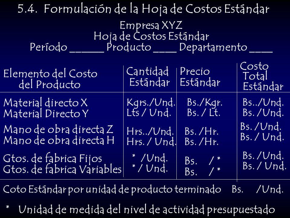 5.4. Formulación de la Hoja de Costos Estándar Empresa XYZ Hoja de Costos Estándar Período ______ Producto ____ Departamento ____ Elemento del Costo d