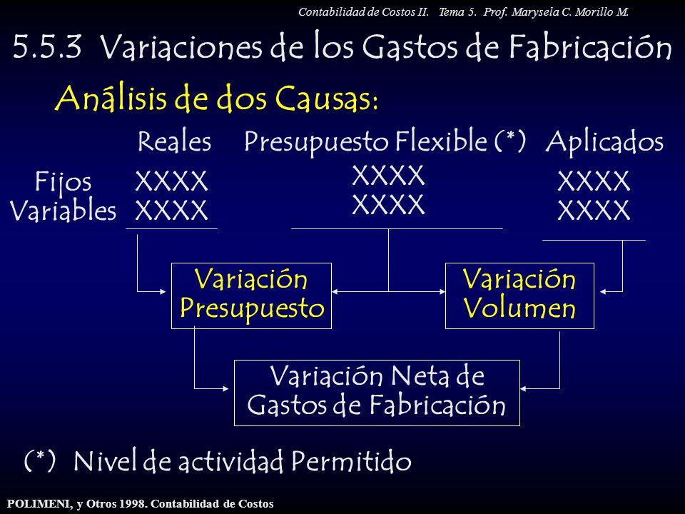 5.5.3 Variaciones de los Gastos de Fabricación Análisis de dos Causas: AplicadosReales Fijos Variables XXXX Variación Neta de Gastos de Fabricación Pr