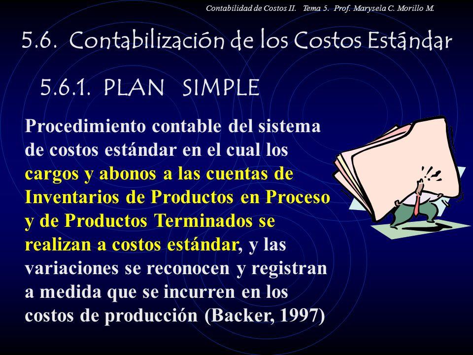 5.6. Contabilización de los Costos Estándar 5.6.1. PLAN SIMPLE Contabilidad de Costos II. Tema 5. Prof. Marysela C. Morillo M. Procedimiento contable