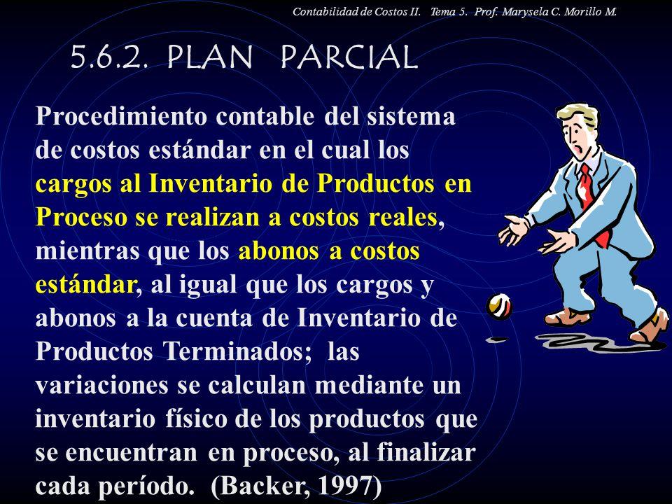 5.6.2. PLAN PARCIAL Contabilidad de Costos II. Tema 5. Prof. Marysela C. Morillo M. Procedimiento contable del sistema de costos estándar en el cual l