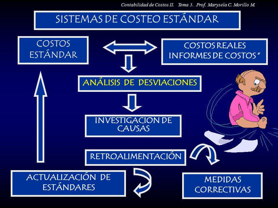 SISTEMAS DE COSTEO ESTÁNDAR COSTOS ESTÁNDAR COSTOS REALES INFORMES DE COSTOS ANÁLISIS DE DESVIACIONES INVESTIGACIÓN DE CAUSAS RETROALIMENTACIÓN MEDIDA