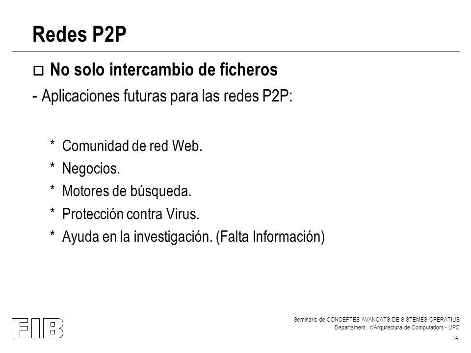 Seminaris de CONCEPTES AVANÇATS DE SISTEMES OPERATIUS Departament. dArquitectura de Computadors - UPC 14 Redes P2P o No solo intercambio de ficheros -
