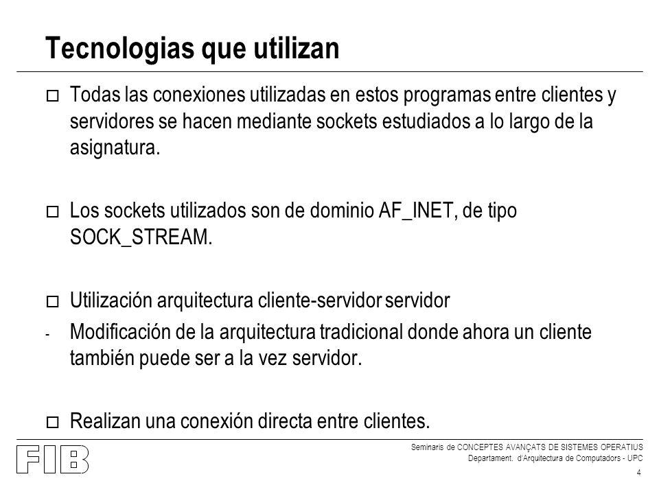 Seminaris de CONCEPTES AVANÇATS DE SISTEMES OPERATIUS Departament. dArquitectura de Computadors - UPC 4 Tecnologias que utilizan o Todas las conexione
