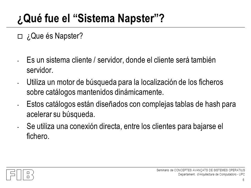 Seminaris de CONCEPTES AVANÇATS DE SISTEMES OPERATIUS Departament. dArquitectura de Computadors - UPC 6 ¿Qué fue el Sistema Napster? o ¿Que és Napster