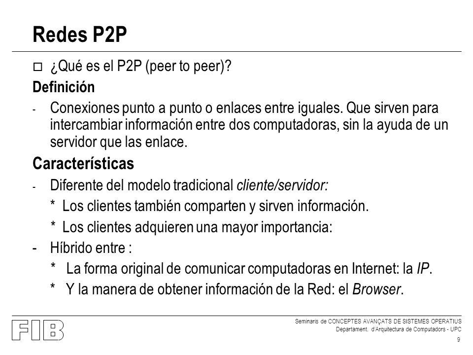 Seminaris de CONCEPTES AVANÇATS DE SISTEMES OPERATIUS Departament. dArquitectura de Computadors - UPC 9 Redes P2P o ¿Qué es el P2P (peer to peer)? Def
