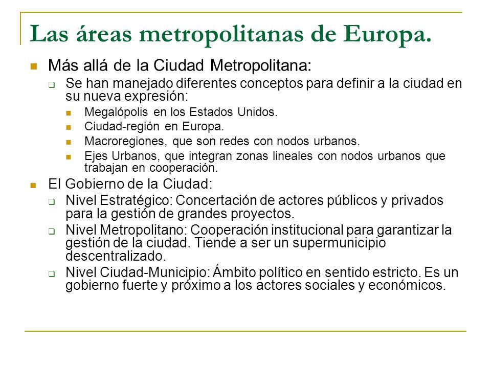 Las áreas metropolitanas de Europa.