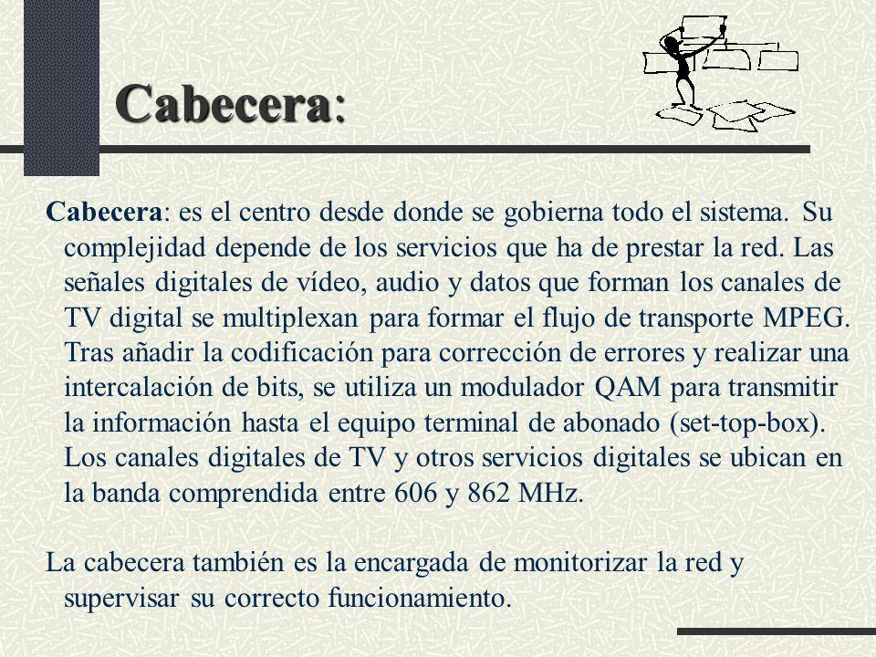 Cabecera: Cabecera: es el centro desde donde se gobierna todo el sistema. Su complejidad depende de los servicios que ha de prestar la red. Las señale