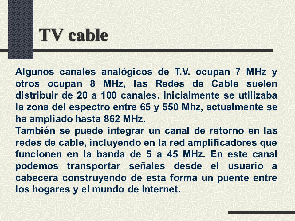 TV cable Algunos canales analógicos de T.V. ocupan 7 MHz y otros ocupan 8 MHz, las Redes de Cable suelen distribuir de 20 a 100 canales. Inicialmente