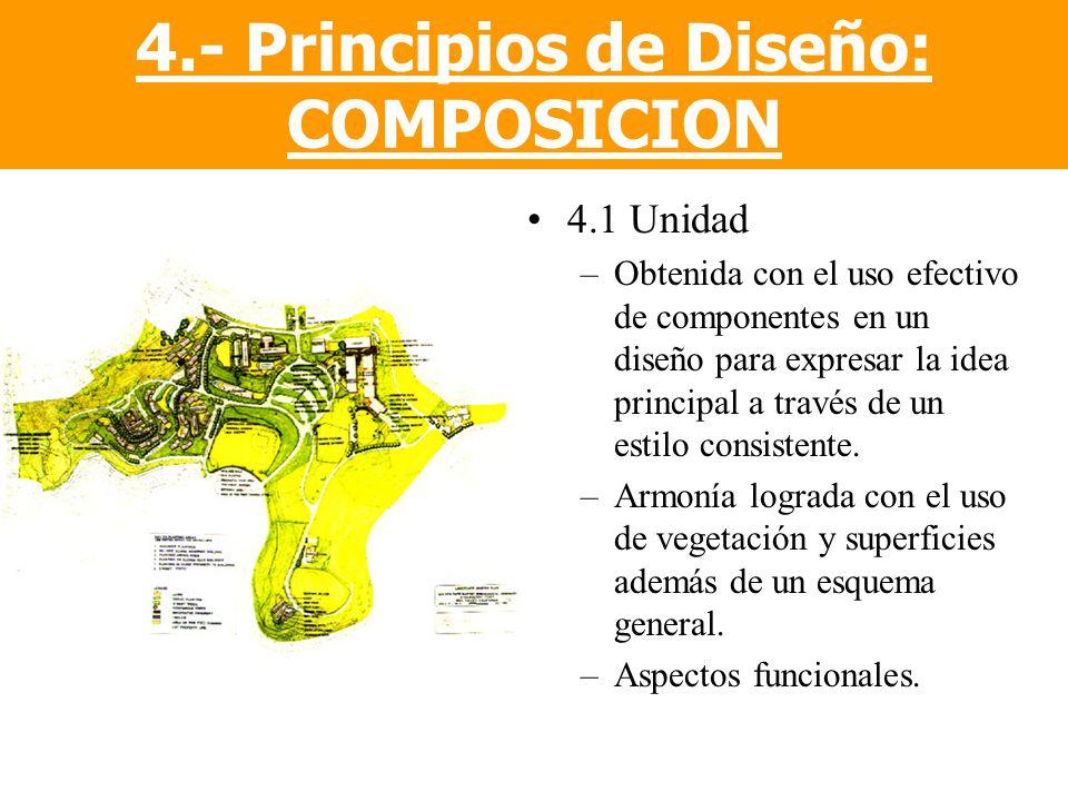 4.1 Unidad –Obtenida con el uso efectivo de componentes en un diseño para expresar la idea principal a través de un estilo consistente. –Armonía logra