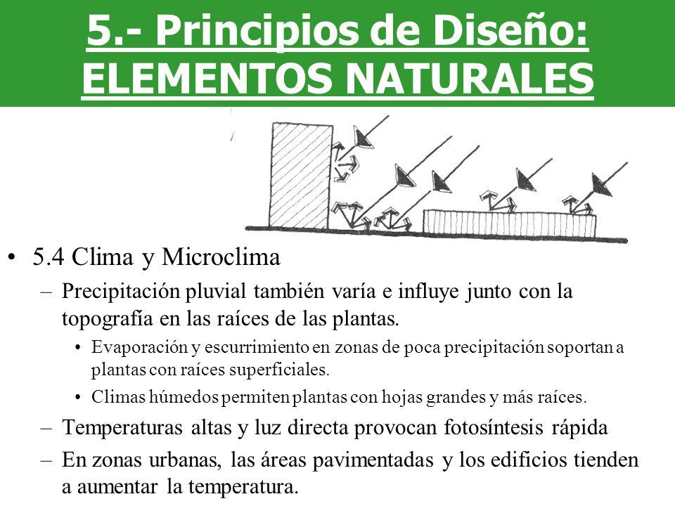 5.4 Clima y Microclima –Precipitación pluvial también varía e influye junto con la topografía en las raíces de las plantas. Evaporación y escurrimient