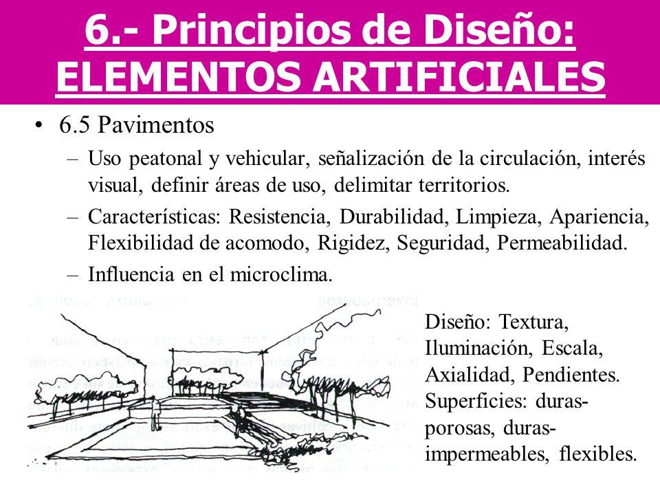 6.5 Pavimentos –Uso peatonal y vehicular, señalización de la circulación, interés visual, definir áreas de uso, delimitar territorios. –Característica