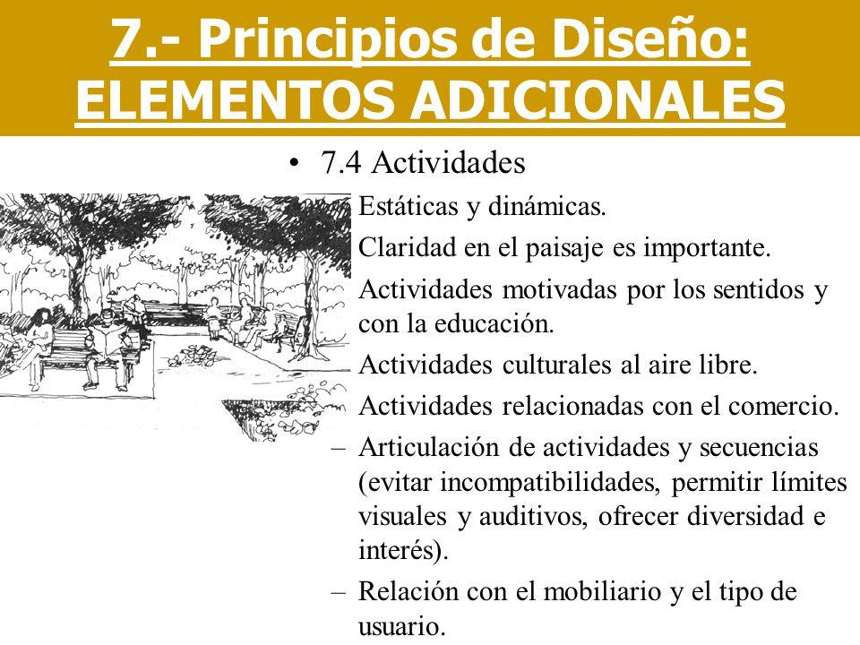 7.4 Actividades –Estáticas y dinámicas. –Claridad en el paisaje es importante. –Actividades motivadas por los sentidos y con la educación. –Actividade