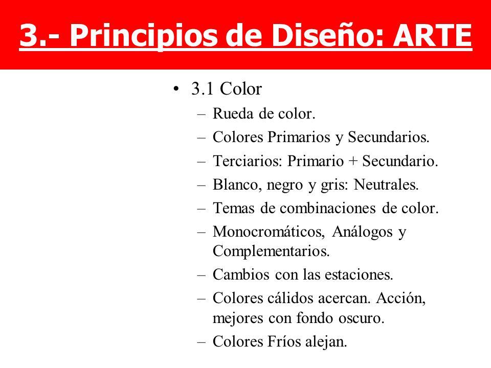 3.1 Color –Rueda de color. –Colores Primarios y Secundarios. –Terciarios: Primario + Secundario. –Blanco, negro y gris: Neutrales. –Temas de combinaci