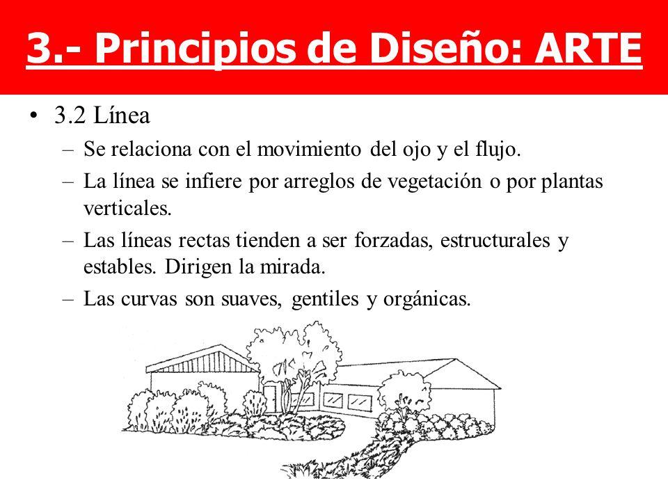 3.2 Línea –Se relaciona con el movimiento del ojo y el flujo. –La línea se infiere por arreglos de vegetación o por plantas verticales. –Las líneas re