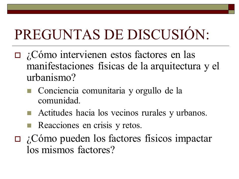 PREGUNTAS DE DISCUSIÓN: ¿Cómo intervienen estos factores en las manifestaciones físicas de la arquitectura y el urbanismo.