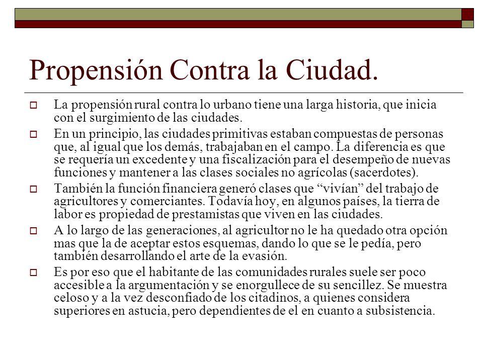 Propensión Contra la Ciudad.