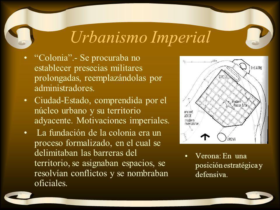 Urbanismo Imperial Colonia.- Se procuraba no establecer presecias militares prolongadas, reemplazándolas por administradores. Ciudad-Estado, comprendi