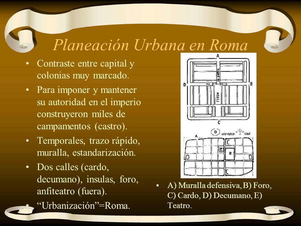 Planeación Urbana en Roma Contraste entre capital y colonias muy marcado. Para imponer y mantener su autoridad en el imperio construyeron miles de cam
