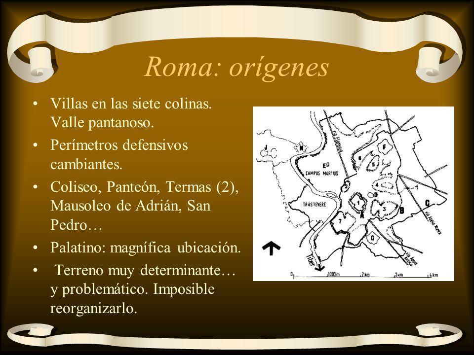 Roma: orígenes Villas en las siete colinas. Valle pantanoso. Perímetros defensivos cambiantes. Coliseo, Panteón, Termas (2), Mausoleo de Adrián, San P