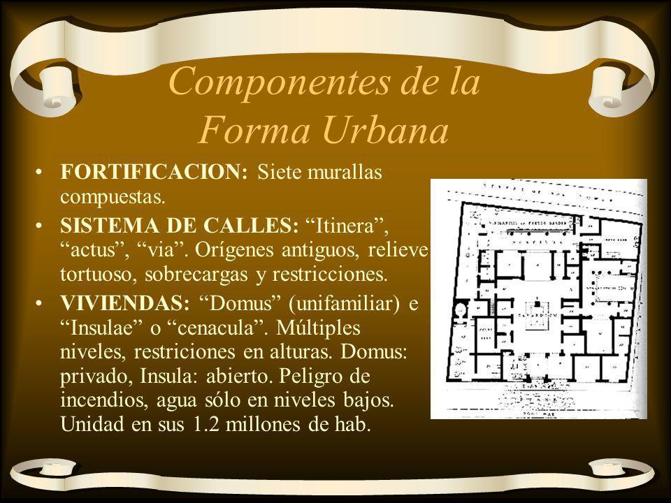 Componentes de la Forma Urbana FORTIFICACION: Siete murallas compuestas. SISTEMA DE CALLES: Itinera, actus, via. Orígenes antiguos, relieve tortuoso,