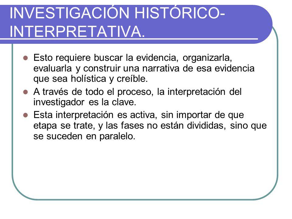 INVESTIGACIÓN HISTÓRICO- INTERPRETATIVA.Estrategia: Análisis y Narrativa.