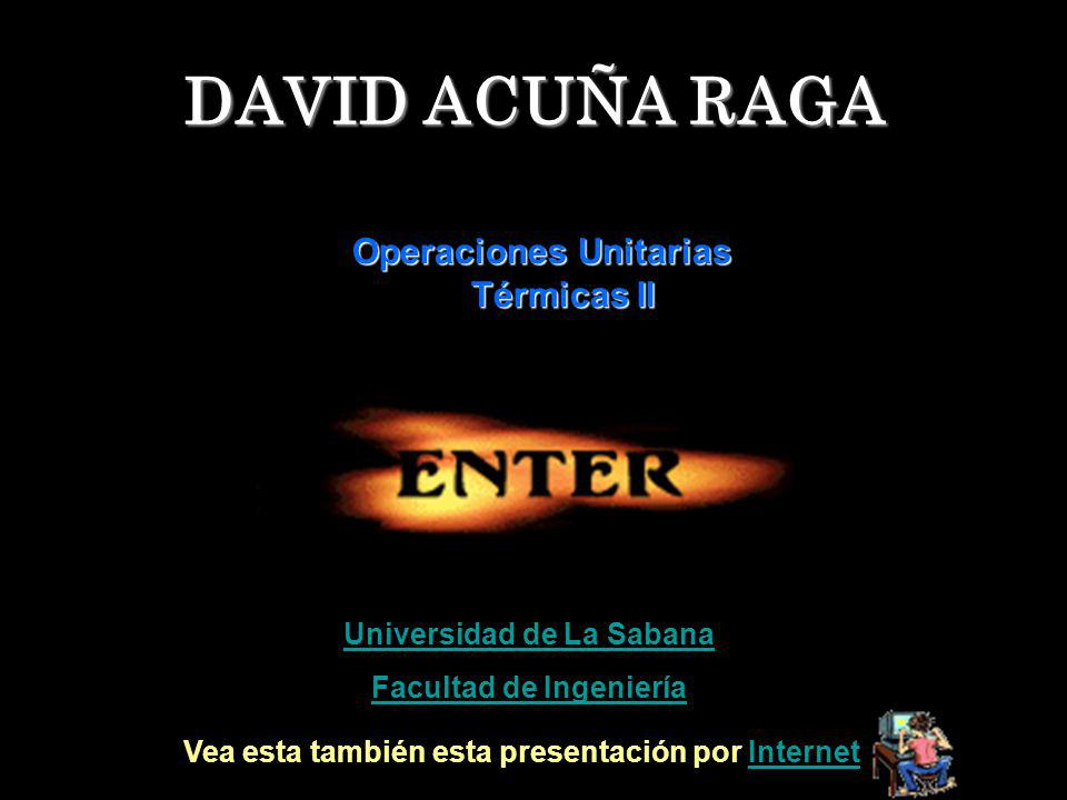DAVID ACUÑA RAGA Operaciones Unitarias Térmicas II Universidad de La Sabana Facultad de Ingeniería Vea esta también esta presentación por InternetInte