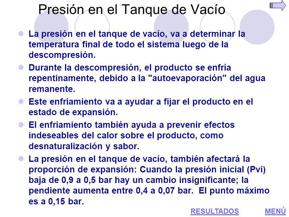 Presión en el Tanque de Vacío La presión en el tanque de vacío, va a determinar la temperatura final de todo el sistema luego de la descompresión. Dur