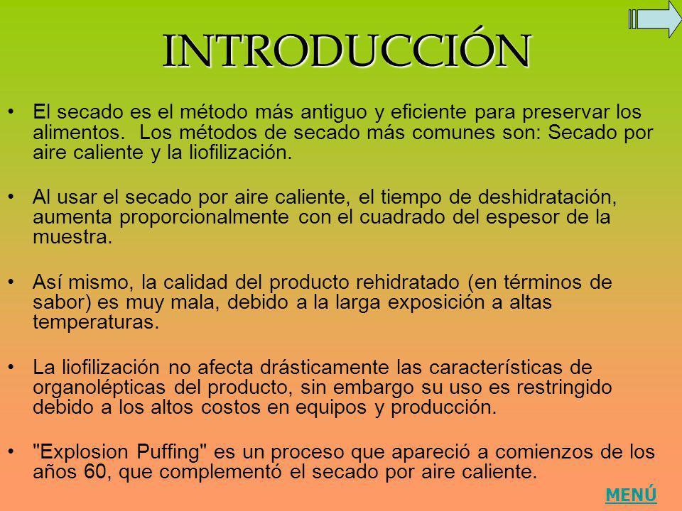 INTRODUCCIÓN El secado es el método más antiguo y eficiente para preservar los alimentos. Los métodos de secado más comunes son: Secado por aire calie