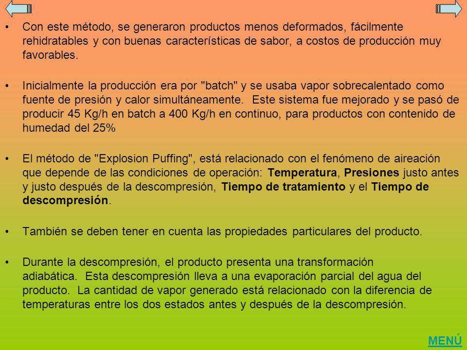 Con este método, se generaron productos menos deformados, fácilmente rehidratables y con buenas características de sabor, a costos de producción muy f