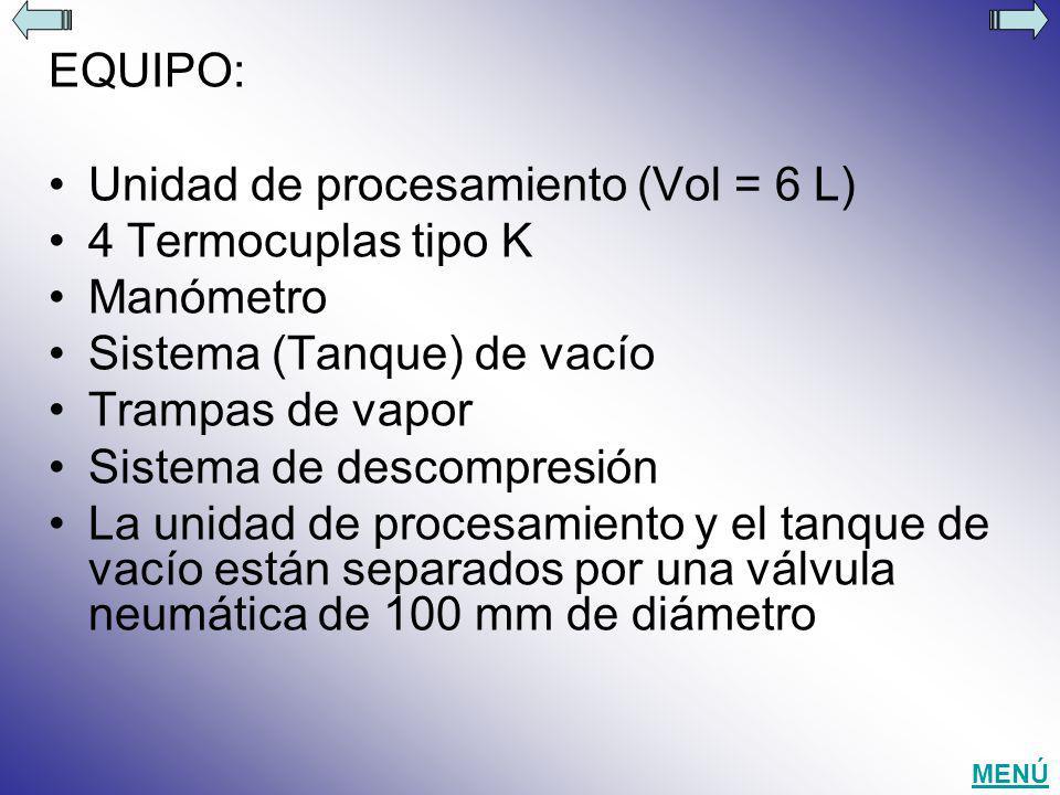 EQUIPO: Unidad de procesamiento (Vol = 6 L) 4 Termocuplas tipo K Manómetro Sistema (Tanque) de vacío Trampas de vapor Sistema de descompresión La unid