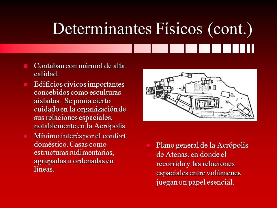 Determinantes Físicos (cont.) n Contaban con mármol de alta calidad. n Edificios cívicos importantes concebidos como esculturas aisladas. Se ponía cie