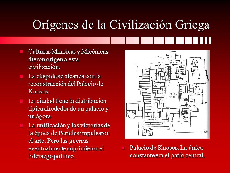 Orígenes de la Civilización Griega n Culturas Minoicas y Micénicas dieron orígen a esta civilización. n La cúspide se alcanza con la reconstrucción de