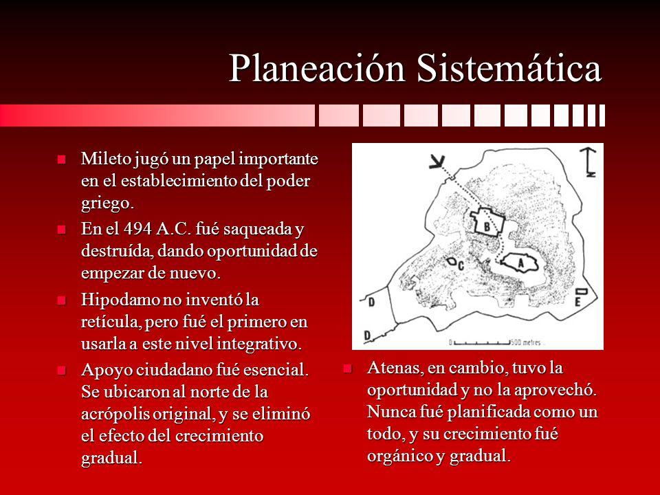 Planeación Sistemática (cont.) n Quizás debido a su tamaño mayor o a la imperiosa necesidad de reconstruír, ningún plan fué adoptado en Atenas.