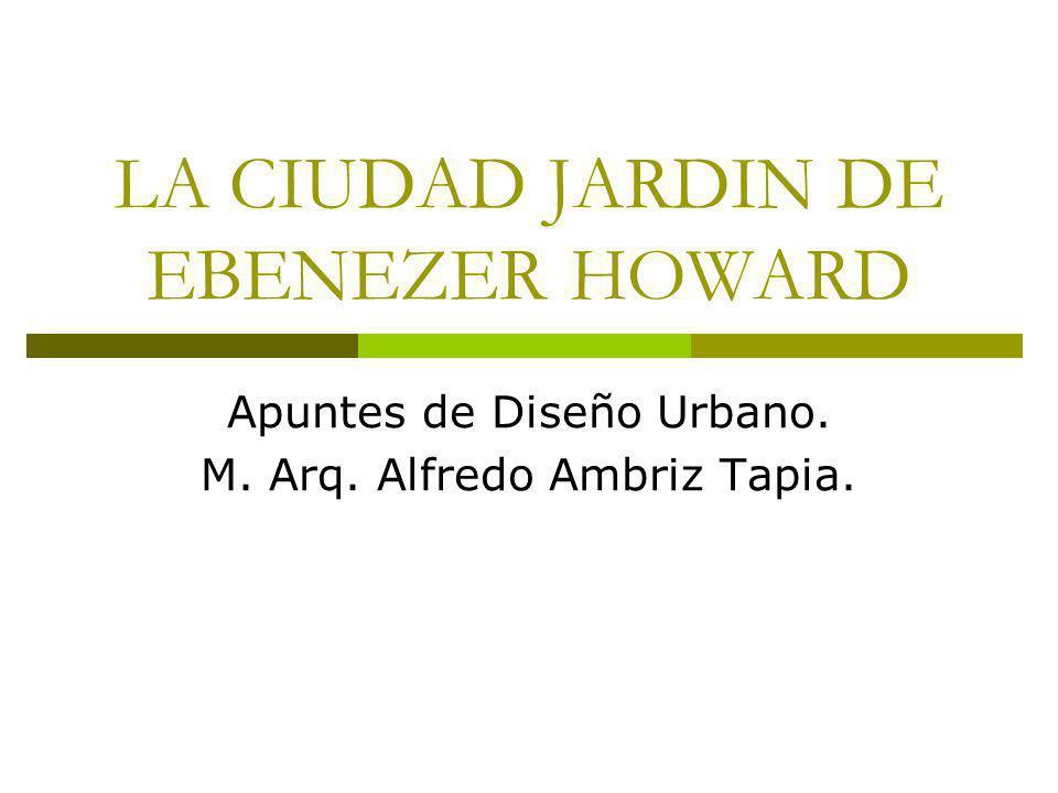 LA CIUDAD JARDIN DE EBENEZER HOWARD Apuntes de Diseño Urbano. M. Arq. Alfredo Ambriz Tapia.