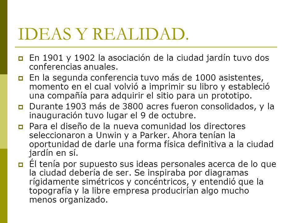 IDEAS Y REALIDAD. En 1901 y 1902 la asociación de la ciudad jardín tuvo dos conferencias anuales. En la segunda conferencia tuvo más de 1000 asistente