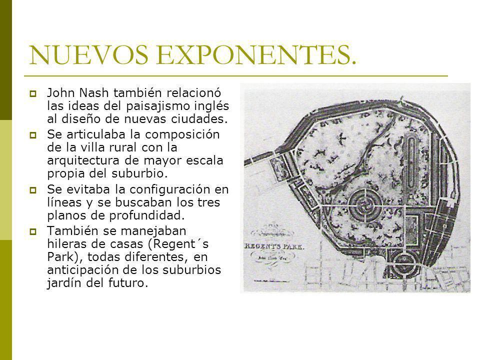 NUEVOS EXPONENTES. John Nash también relacionó las ideas del paisajismo inglés al diseño de nuevas ciudades. Se articulaba la composición de la villa