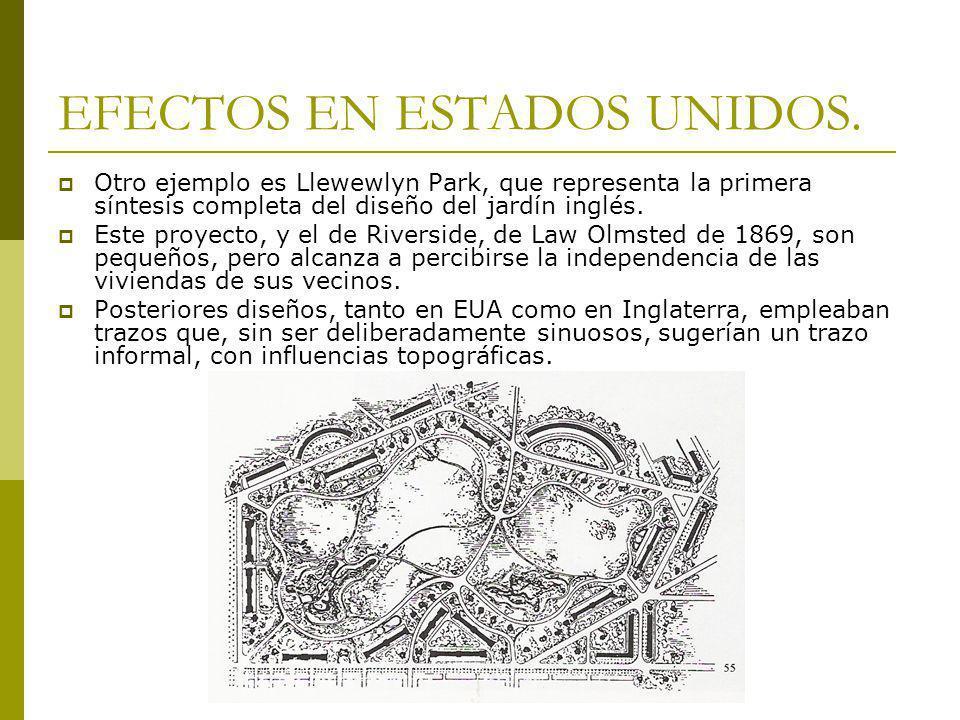 EFECTOS EN ESTADOS UNIDOS. Otro ejemplo es Llewewlyn Park, que representa la primera síntesis completa del diseño del jardín inglés. Este proyecto, y