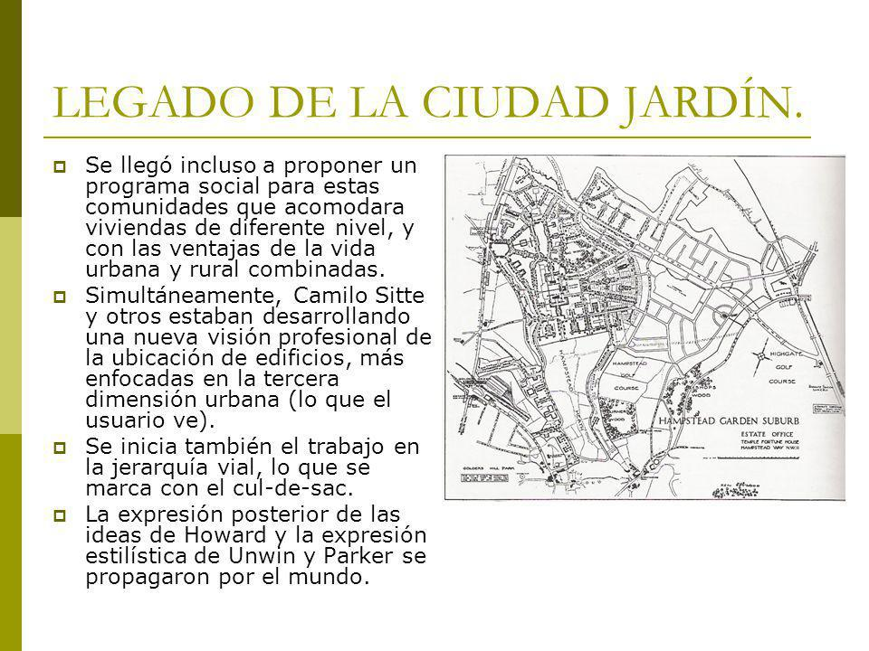 LEGADO DE LA CIUDAD JARDÍN. Se llegó incluso a proponer un programa social para estas comunidades que acomodara viviendas de diferente nivel, y con la