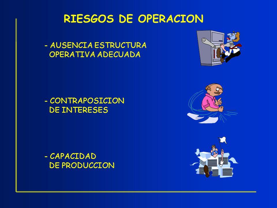 RIESGOS DE OPERACION - AUSENCIA ESTRUCTURA OPERATIVA ADECUADA - CONTRAPOSICION DE INTERESES - CAPACIDAD DE PRODUCCION
