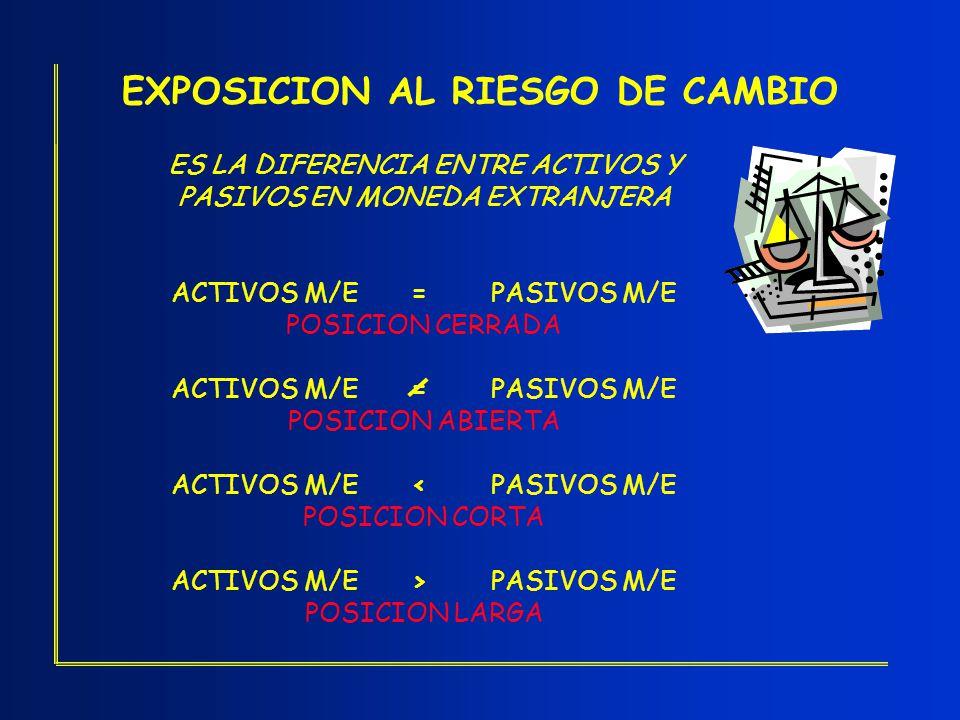EXPOSICION AL RIESGO DE CAMBIO ES LA DIFERENCIA ENTRE ACTIVOS Y PASIVOS EN MONEDA EXTRANJERA ACTIVOS M/E=PASIVOS M/E POSICION CERRADA ACTIVOS M/E=PASI