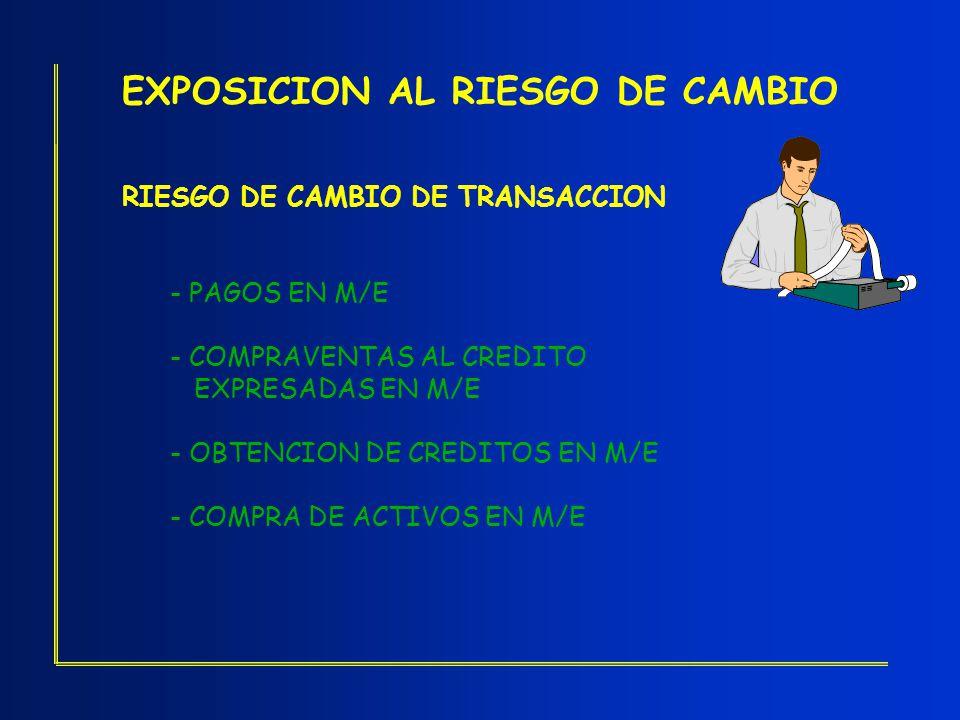 EXPOSICION AL RIESGO DE CAMBIO RIESGO DE CAMBIO DE TRANSACCION - PAGOS EN M/E - COMPRAVENTAS AL CREDITO EXPRESADAS EN M/E - OBTENCION DE CREDITOS EN M