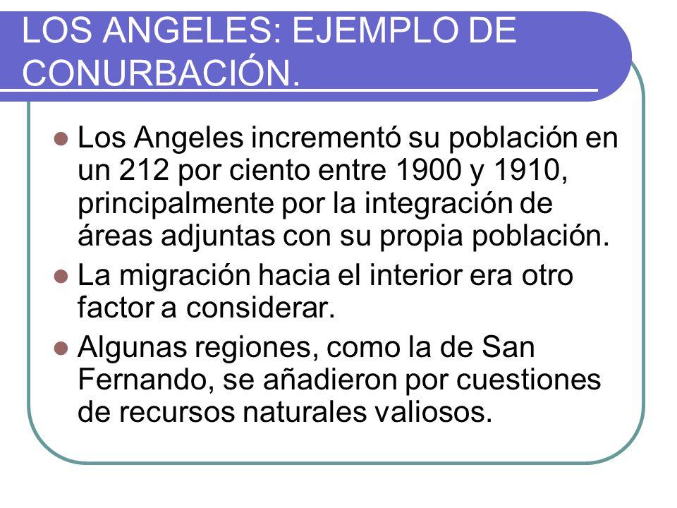 LOS ANGELES: EJEMPLO DE CONURBACIÓN. Los Angeles incrementó su población en un 212 por ciento entre 1900 y 1910, principalmente por la integración de